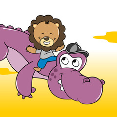 Baby Lion and Crocodile Jump Together illustration - Vector