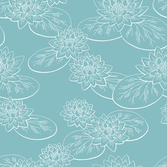 Water lily flower graphic color seamless pattern sketch background illustration vector