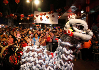 People perform a traditional Chinese lion dance to mark the Chinese Lunar New Year of the Pig in Chinatown in Mexico City
