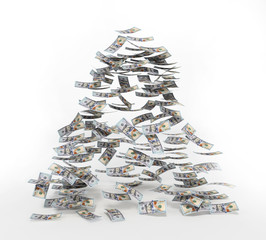 100 dollar bills falling to the ground. 3D illustration
