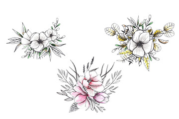 Floral watercolor and sketching wedding handpainted bouquets with delicate pink and monochrome flowers