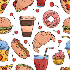 Seamless vector pattern with hand drawn food and drinks
