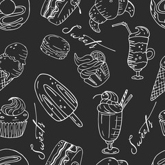 Seamless vector pattern with hand drawn sweets.