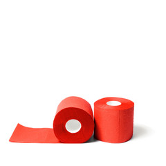 Rolls of red coral toilet paper isolated on white background.