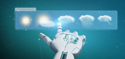 Cyborg hand holding a Weather Forecast widget 3d rendering