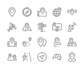 Simple Set of Map Pin Line Icon. Editable Stroke