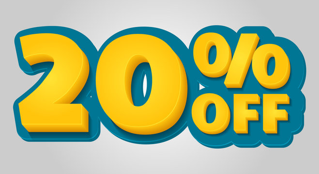 20% off discount banner. Special offer sale tag in 3d style. Blue and yellow vector illustration.