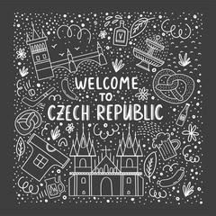 Set of vector illustration of Czech republic. Travel illustration with Czech landmarks.
