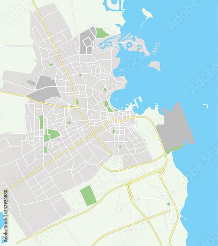 Vector color map of Doha, Qatar. City Plan of Doha. Vector ... on