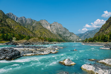 The Altay landscape with bright turquoise mountain river Katun and green rocks, Siberia, Altai Republic