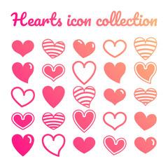 Set icone cuore risorsa grafica collezione vettoriale decorazione colorato amore