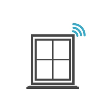 Glass break sensor icon or logo, Security Sensor sign