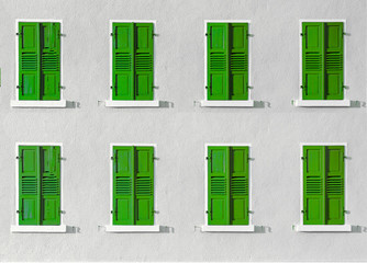 wooden shutter in intensive color gives a harmonic background
