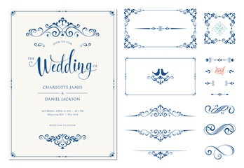 Ornate wedding invitation. Calligraphic vintage elements, dividers and page decorations.