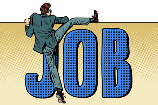 employee looking for work. job word inscription