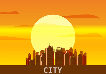 City megapolis sunset, cityscape, evening, skyline, silhouettes of skyscrapers. Vector, illustration, isolated, background, template, banner