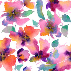 Seamless floral pattern. Watercolor purple flowers. Floral background.