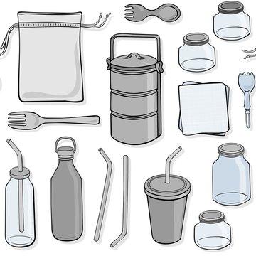 zero waste kitchen utensils seamless pattern with hand drawn colorful elements on white background