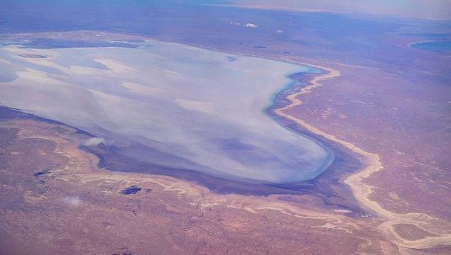 Aerial Panorama view to saline Barsa Kelmes lake and Ustyurt plateau at Karakalpakstan, Uzbekistan