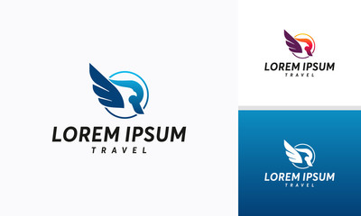 Modern R initial Eagle Bird logo designs vector, R initial Hawk Symbol template