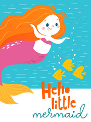 Vector cartoon summer poster with cute little mermaid