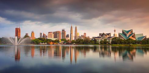 Kuala Lumpur. Panoramic cityscape image of Kuala Lumpur skyline during sunset.