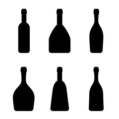 Vector silhouettes of the bottles. Simple templates. Different kinds of alcohol drinks. Black and white illustration.