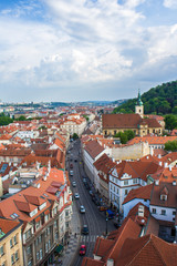View of Prague from the tower of the Cathedral of St. Peter. Panorama of Prague. Architecture of Prague old town