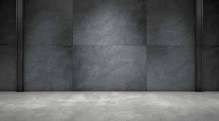 Dark Concrete Wall Room Empty Marble Floor Interior Background