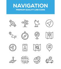 Navigation Line Icon Set Concept