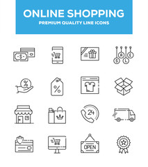 Online Shopping Line Icon Set Concept