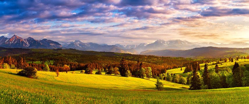 Tatra mountains panorama. Beautiful valley and cloudy sky