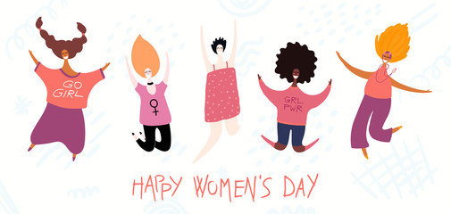 Printed kitchen splashbacks Illustrations Happy womens day card, poster, banner, with quote and diverse women. Isolated objects on white background. Hand drawn vector illustration. Flat style design. Concept, element for feminism, girl power.