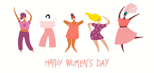 Foto op Plexiglas Illustraties Happy womens day card, poster, banner, with quote and diverse women. Isolated objects on white background. Hand drawn vector illustration. Flat style design. Concept, element for feminism, girl power.