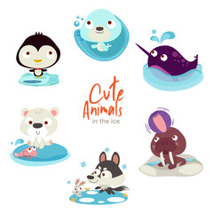 cute animals with scenery set