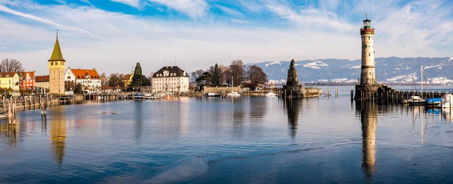 Panorama Hafen Lindau Bodensee Winter