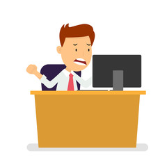 Angry Businessman at workplace watching laptop, Flat style Vector Illustration