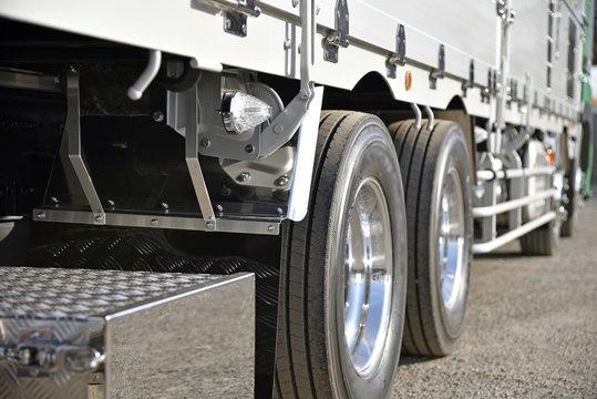 運送業のイメージ:新車大型トラックのアルミホイール