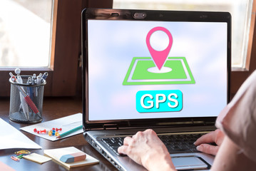 Gps concept on a laptop screen