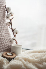 Warm and cozy window seat with cushions and blanket and cup, still life from home interior, the concept of home comfort