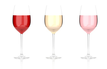 Wine glasses. Set. 3d rendering illustration isolated on white background