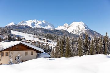 Winter in Austrian Alps. Beautiful snowy landscape