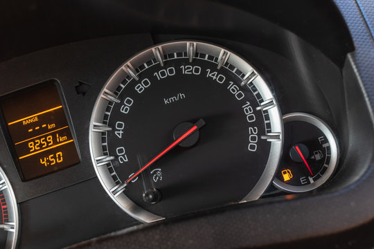Low level fuel show on speedometer dashboard.