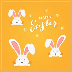 Lettering Happy Easter with Rabbits on Orange Background