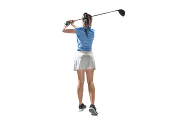 Rear view of asian woman on long drive swing with wood club
