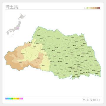 埼玉県の地図(等高線・色分け・市町村・区分け)