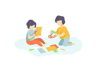 Two Cute Boys Sitting on Floor and Cutting Application Details, Kids Creativity, Education, Development Vector Illustration