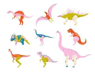 Collection of Colorful Dinosaurs, Pterodactyl, Carnotaurus, Styracosaurus, Diplodocus, Compsognathus, Brachiosaurus, Brontosaurus, Tyrannosaurus, Velociraptor Cute Prehistoric Animals Vector