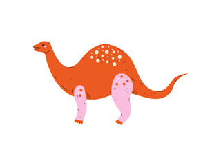 Colorful Brontosaurus Dinosaur, Cute Prehistoric Animal Vector Illustration
