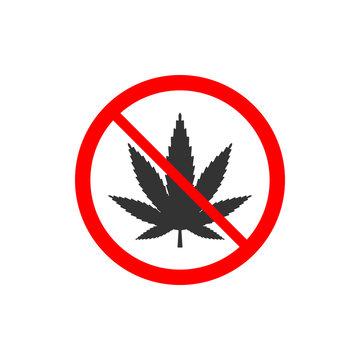 Cannabis, marijuana leaf icon, no drug sign. Vector illustration, flat design.